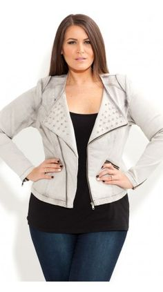 Plus Size Stud Biker Jacket - City Chic - City Chic