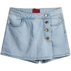 Blue Asymmetric Pockets Skirt Shorts SH1500049 ($16) ❤ liked on Polyvore featuring shorts, skirts, bottoms, blue, blue shorts, high-waisted shorts, high rise jean shorts, highwaisted shorts and highwaisted denim shorts