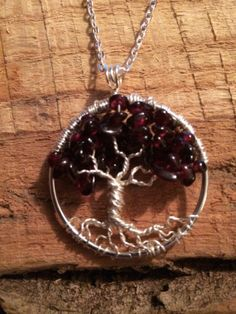 Tree Of Life Necklace Garnet Pendant On Silver by Just4FunDesign, $27.00