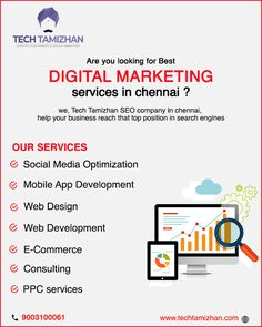 Tech Tamizhan is a digital marketing agency specializing in responsive web design & development, SEO, PPC, Social Media Marketing. Digital Marketing Services, Social Media Marketing, Responsive Web Design, Seo Company, Design Development, Search Engine, Mobile App, Ecommerce, Tech