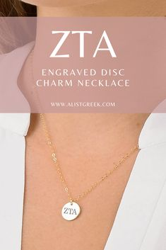 Shop this beautifully engraved Greek letter disc charm necklace at www.alistgreek.com! #discnecklace #charm #sororitynecklace #customgift #personalized #handmade #custom #sororityjewelry #necklace #greekletters #sororityletters #loveyourletters #bidday #graduaton #biglittlereveal #zetataualpha #zta