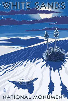 White Sands National Monument, New Mexico - Night Scene - Lantern Press Poster