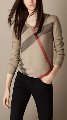 Burberry Brit Check Detail Wool Cashmere Sweater
