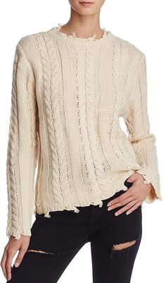 Honey Punch Distressed Cable Sweater