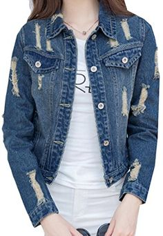 cd21b175148e Fulok Womens Slim Ripped Holes Button Down Washed Short Denim Jacket Blue  Large Mom Style