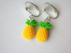 boucles d'oreilles ananas clips oreilles non percées fruit jaune et vert perles été : Boucles d'oreille par fimo-relie