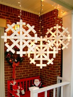 Make a bunch of these snowflakes and hang them from your front porch, from the eaves of your home or from tree branches. This is a perfect project for a beginner woodworker.