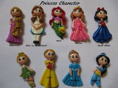 Set of Princess Polymer Clay Charm Bead Scrapbooking Embelishment Bow Center Pendant Cupcake Topper