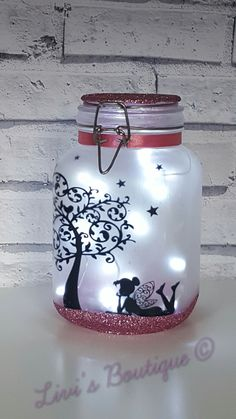 Fairy night light fairy lights fairy lantern fairy jar light jars fairy garden flower girl gift wedding decor bedroom light home decor Lantern With Fairy Lights, Fairy Lanterns, Mason Jar Crafts, Bottle Crafts, Crafts With Jars, Glitter Mason Jars, Fairy Jars, Mason Jar Fairy Lights, Mason Jar Lanterns