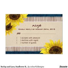 Burlap and Lace, Sunflower RSVP Cards
