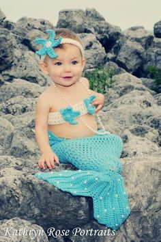 Crochet Pearls Mermaid Tail Prop Sets 6-12mons  MADE TO ORDER. $50.00, via Etsy.