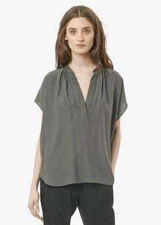 """VINCE"" Leather Contrast Silk Popover Blouse at Vince"