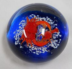 Unusual Art Glass Bubble Paperweight with Crab
