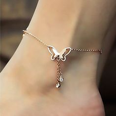 Cheap anklet bracelet, Buy Quality charm china directly from China anklet jewelry Suppliers: Korean Fashion Charm Butterfly Rhinestone Rose Gold Anklet for Women Good quality & factory price Foot Bracelet, Tassel Bracelet, Anklet Bracelet, Gold Bracelets, Pandora Bracelets, Charm Bracelets, Ankle Jewelry, Body Jewelry, Chain Jewelry