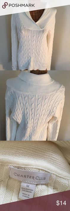 "Charter Club Shawl Collar Sweater All over cable stitch design. Light cream color. Cotton/ nylon blend; washable. 24"" long; sleeves 26.5"". Great classic piece for your closet! Charter Club Sweaters"