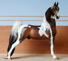 Lord of the Ring  Lg. Traditional American Saddlebred Stallion sculpted by Jennifer Reid  Color:  Pinto  Painter:  Faye Cohen