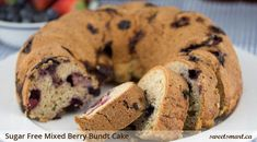 This sugar free mixed berry bundt cake can be made with fresh or frozen berries. It's buttery and delicious.