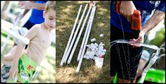 "make your own PVC pipe ""water park sprinkler"" by connecting PVC pipes to your hose, configuring the pipes any way you want, and then drilling holes in them for the water to squirt out."