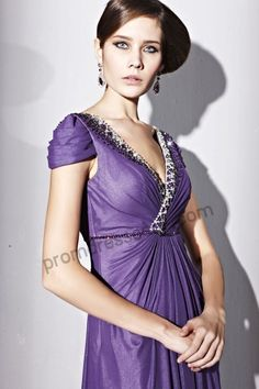 Purple V-neck Cap-sleeve Tencel A-line Evening Party Dress BY230