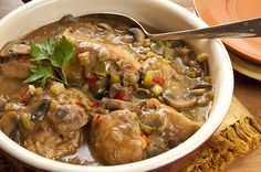 Make-Ahead Cajun Chicken and Mushrooms Very yummy but I used chicken stock instead of bullion and added 2 tsp. of Cajun seasoning. Cajun Recipes, Turkey Recipes, Chicken Recipes, Dinner Recipes, Cooking Recipes, Healthy Recipes, Cajun Food, Chef Recipes, Chicken Soup