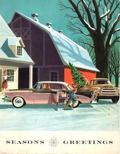 Dodge Christmas card,1953 (Yes, the car is two-tone pink and black!) <> (retro, yesteryear, vintage, Xmas, greetings)
