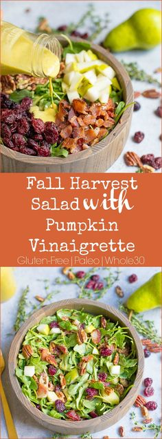 Perfect for the holidays, lunch, or as an easy side dish! This pumpkin vinaigrette is so delicious! Paleo and friendly. Perfect for the holidays, lunch, or as an easy side dish! This pumpkin vinaigrette is so delicious! Paleo and friendly. Pumpkin Recipes, Fall Recipes, Healthy Recipes, Pasta Sin Gluten, Recetas Whole30, Cena Paleo, Harvest Salad, Menu Dieta, Paleo Dinner