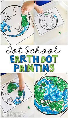 This dot paint activity is great for fine motor practice. Perfect for Earth Day in tot school, preschool, or the kindergarten classroom.