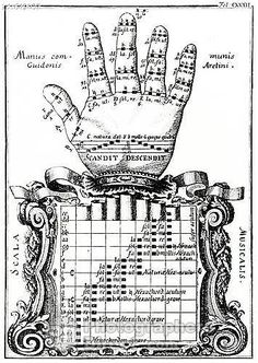 Middle Ages/Renaissance - The Guidonian hand Guido of Arezzos device for showing the notes of the scale (Italian theorist , music teacher and Benedictine monks , b c 991 d after 1033 ) A great idea for a hand tattoo! Music Anchor Charts, Piano Lessons For Beginners, Medieval Music, Early Music, Art Nouveau, Early Middle Ages, Music Images, Instruments, Chant