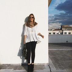 Preto, branco e nude! Adoro batas esvoançantes 💙 #ootd #looksfj