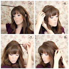 Braided headband styles are very popular, especially during the summer months. Able to redeem a bad hair day, these braids work beauty and comfort into any hair length or texture. Check out the ideas below for both how-to tip Chignon Headband, Braid Headband Tutorial, Headband Hairstyles, Hairstyles With Bangs, Pretty Hairstyles, Popular Hairstyles, Braided Headbands, Beach Hairstyles, Men's Hairstyle