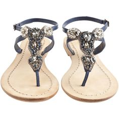 ANTIK BATIK Akan Navy Rhinestone Thong Sandal ($225) ❤ liked on Polyvore featuring shoes, sandals, flats, zapatos, sapatos, flat sandals, navy flats, navy blue flats, embellished sandals and navy sandals