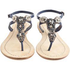 ANTIK BATIK Akan Navy Rhinestone Thong Sandal ($225) ❤ liked on Polyvore featuring shoes, sandals, flats, zapatos, sapatos, buckle sandals, rhinestone flat sandals, flat sandals, rhinestone sandals and flat thong sandals