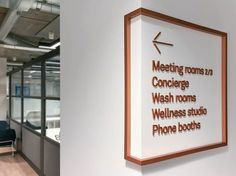 "Prophet creates branding for new ""pro-working"" space Fora - Design Week Cafe Signage, Hotel Signage, Directional Signage, Office Signage, Wayfinding Signs, Store Signage, Retail Signage, Corporate Office Design, Office Branding"