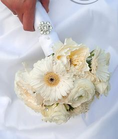 Bridal bouquet for my friend Nicole with ranuculus, gerbera daisies and garden roses