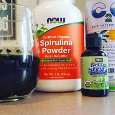 Wow I found gold!  Organic Spirulina Powder  It is a GREAT source of B vitamins iron and PROTEIN. It has anti-inflammatory properties omega 3s 6s & 9s and has 26 times more calcium than milk.  It actually has more protein than red meat. It is 71% complete protein compared to beef which is 22% and lentils 27%. The amino acids and minerals are also easily assimilated into your body.  I mixed this organic spirulina powder with organic coconut water and a few drops of liquid stevia.  #spirulina…