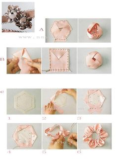 Photo onLy on Flickr.              How to make ribbon flower.   Flores de tecido 1