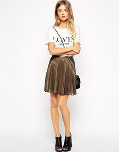 Vila Chiffon Metallic Pleated Skirt