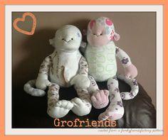 Babygro keepsake monkeys - handmade in the UK by www.grofriends.co.uk #handmade #baby #keepsake #monkey