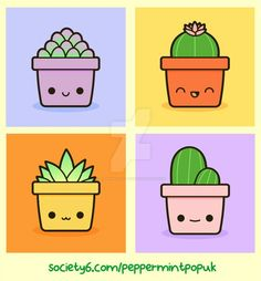 Kawaii succulents and cacti