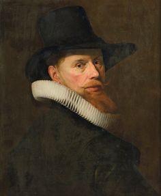 Portrait d'homme à la collerette plissée et coiffé d'un chapeau, attribué à Nicolaes Eliasz Pickenoy
