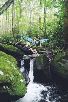 hammocks over a stream