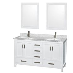 Wyndham Collection Sheffield Double Bathroom Vanity Set with Medicine Cabinet - White, White Carrera Marble Counter Carrara Marble Countertop, Vanity Set With Mirror, Bathroom Sink Vanity, White Vanity, Vanity, Double Vanity Bathroom, Marble Vanity Tops, White Vanity Bathroom, Vanity Sink