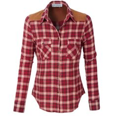 LE3NO Womens Lightweight Button Down Checkered Flannel Shirt ($21) ❤ liked on Polyvore featuring tops, red top, red button up shirt, flannel button-down shirts, red checkered shirt and flannel top