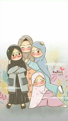 Friends Illustration, Cute Illustration, Girl Cartoon, Cartoon Art, Doodle Cartoon, Ramadan Poster, Hijab Drawing, Bff Drawings, Islamic Cartoon