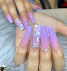 15 Shaped Stylish Nails Colors To Get You Inspired To Try Purple Acrylic Nails, Summer Acrylic Nails, Best Acrylic Nails, Purple Nails, Acrylic Nail Designs, Purple Nail Designs, Yellow Nails, Summer Nails, Aycrlic Nails