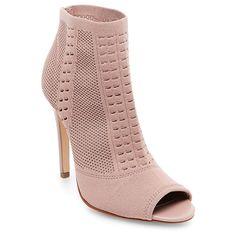 Women's Wild Pair Drama Knit Peep Toe Sock Booties - Mauve (Pink) 9.5