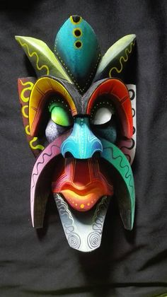 Indigenous Boruca from, indigenous to Costa Rica, Wooden mask mask mask, authentic Boruca mask