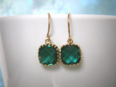 May Birthday Emerald Green Earrings Petite by LisaDJewelry on Etsy