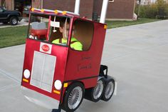 My son's semi truck tractor trailer 18 wheeler Halloween costume. see other views in my DIY board. Password Organizer, Wheelchair Costumes, Diy Halloween Costumes For Kids, Halloween Stuff, Halloween Ideas, Monster Truck Birthday, Birthday Party Tables, Semi Trucks, Diy For Kids