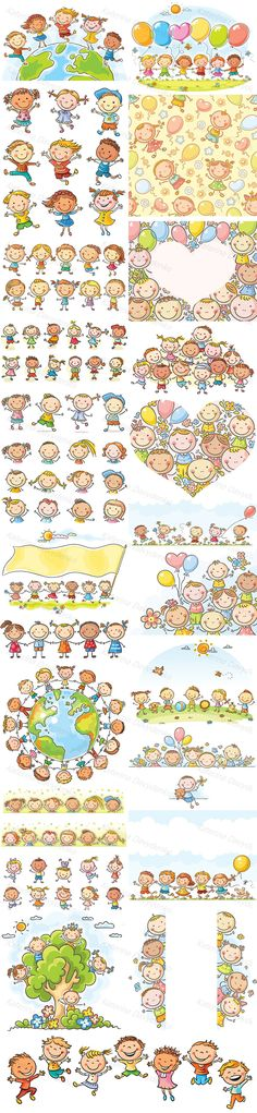 A bundle of 24 illustrations of happy cartoon kids running, playing, jumping with joy. No gradients used, easy to print and edit. Happy Cartoon, Cartoon Kids, Friends Clipart, Little Campers, Kids Running, Pictogram, Cute Kids, Design Bundles, Printable Art